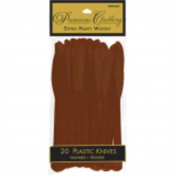 Picture of CHOCOLATE BROWN PREMIUM PLASTIC KNIVES