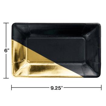 Image de BLACK GOLD FOIL RECTANGULAR PLATE - 8CT