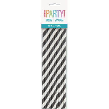 Picture of BLACK STRIPE PAPER STRAWS