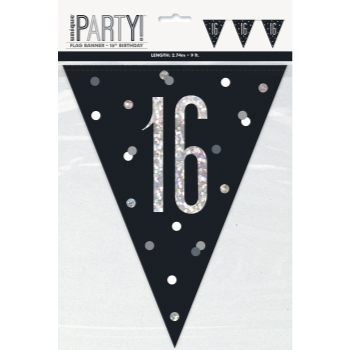 Picture of 16th GLITZY BLACK FLAG BANNER - 9'