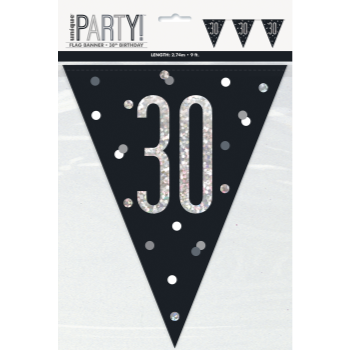Picture of 30th - GLITZY BLACK 30th FLAG BANNER - 9FT