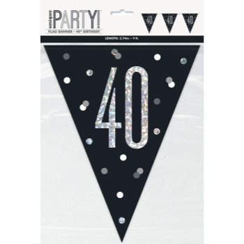 Picture of 40th - GLITZY BLACK 40th FLAG BANNER - 9FT