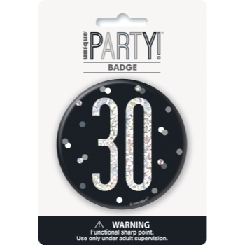 "Picture of 30th - 3"" GLITZ BLACK 30th BIRTHDAY BADGE"