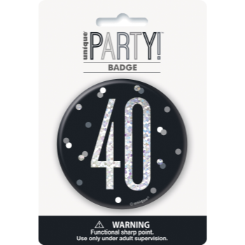 "Picture of 40th - 3"" GLITZ BLACK 40th BIRTHDAY BADGE"