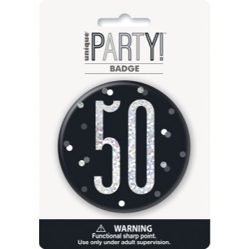 "Picture of 50th - 3"" GLITZ BLACK 50th BIRTHDAY BADGE"