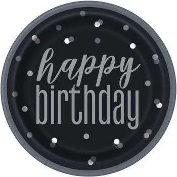 """Picture of TABLEWARE - GLITZ BLACK AND SILVER DOT HAPPY BIRTHDAY - 9"""" PLATES"""