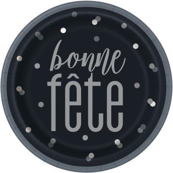 "Picture of BONNE FÊTE GLITZ BLACK AND SILVER - 9"" PLATES"
