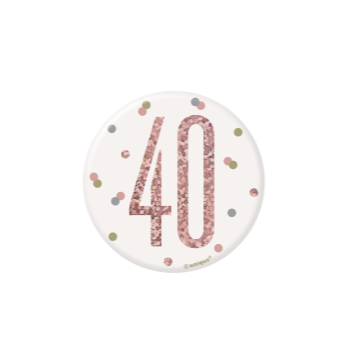 "Picture of 40th - GLITZ ROSE GOLD 3"" BADGE"