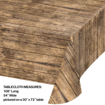 Picture of BROWN WOOD GRAIN PLASTIC TABLE COVER
