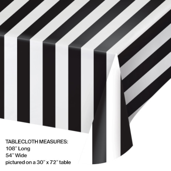 Picture of BLACK AND WHITE STRIPES PLASTIC TABLE COVER