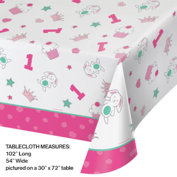 Image de DOODLE 1st BIRTHDAY PINK - TABLE COVER