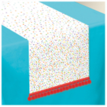 Picture of TABLEWARE - RAINBOW CONFETTI FABRIC TABLE RUNNER