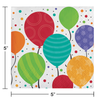 Picture of TABLEWARE - SHIMMERING BALLOONS - BEVERAGE NAPKINS