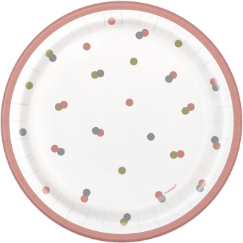 """Picture of TABLEWARE -  GLITZ ROSE GOLD HAPPY BIRTHDAY - 7"""" PLATES"""