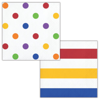 Picture of TABLEWARE - DOTS AND STRIPES MULTI COLOR - BEVERAGE NAPKINS