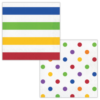 Picture of TABLEWARE - DOTS AND STRIPES MULTI COLOR - LUNCHEON NAPKINS
