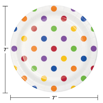 """Picture of TABLEWARE - DOTS AND STRIPES MULTI COLOR - 7"""" PLATES"""