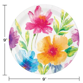 """Picture of WATERCOLOR FLORAL 9"""" PLATES"""