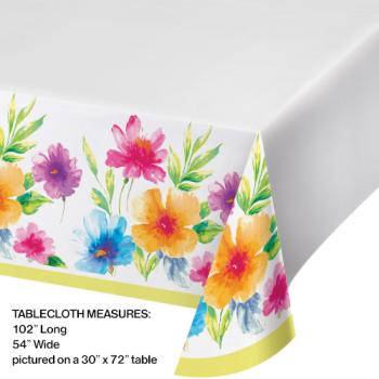 Image de WATERCOLOR FLORAL PLASTIC TABLE COVER