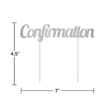 Picture of DECOR - CONFIRMATION SILVER GLITTER CAKE TOPPER