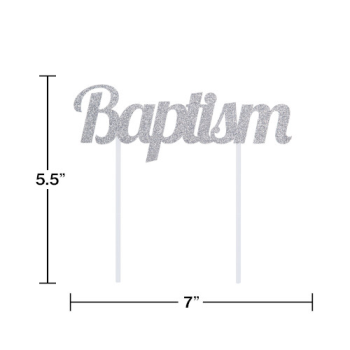 Picture of DECOR - BAPTISM SILVER GLITTER CAKE TOPPER