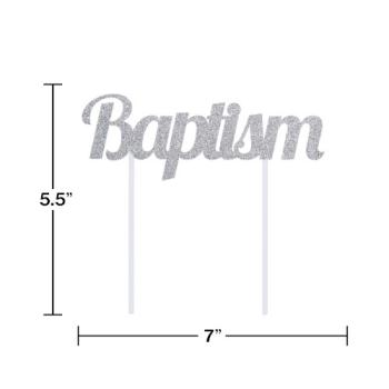 Image de DECOR - BAPTISM SILVER GLITTER CAKE TOPPER