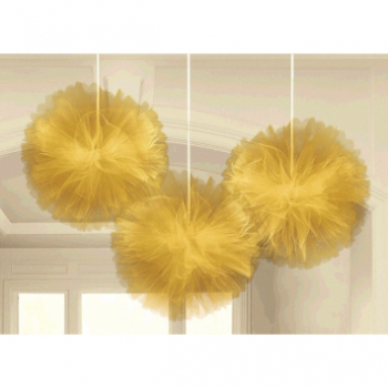 Picture of GOLD TULLE FLUFFY HANGING DECORATION