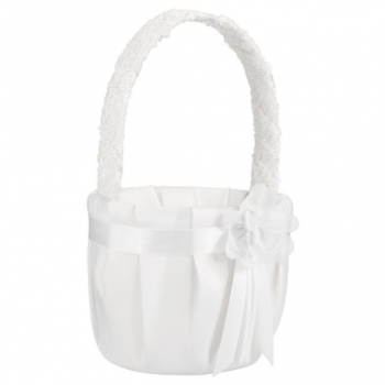 Picture of MODERN FLOWER BASKET WHITE WITH FLOWER