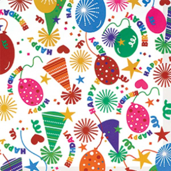Image de JUMBO GIFT WRAP 16' - BIRTHDAY PARTY HAT