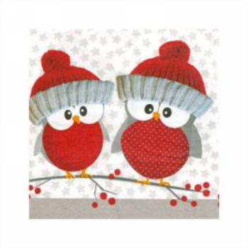 Image de TABLEWARE - RED HOLIDAY OWLS - BEVERAGE NAPKINS