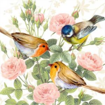 Picture of THREE BIRDS ON BRANCH - LUNCHEON NAPKINS