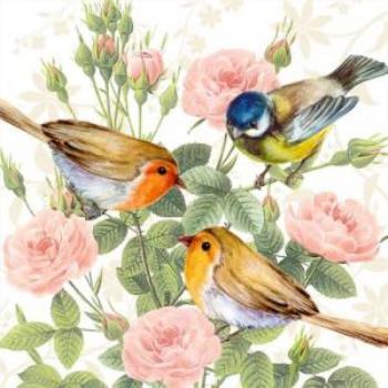 Image de THREE BIRDS ON BRANCH - LUNCHEON NAPKINS