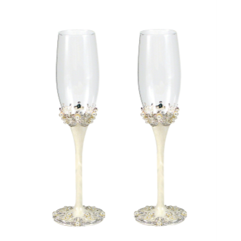 Picture of CHAMPAGNE FLUTES - CRYSTAL & PEARLS