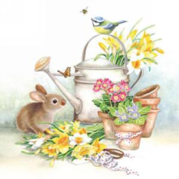 Picture of RABBIT AND FLOWER POTS - LUNCHEON NAPKINS