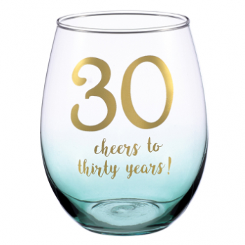 Picture of 30th CHEERS TO THIRTY YEARS STEMLESS WINE GLASSES