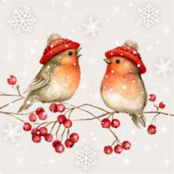 Image de TABLEWARE - TWO BIRDS ON BRANCH WITH TUQUES - NAPKINS