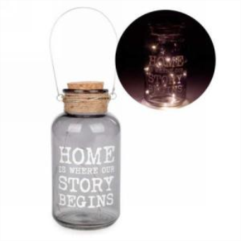 Picture of LED GLASS LANTERN - HOME IS WHERE....