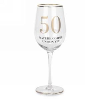Picture of 50 MATURE COMME UN BON VIN - GOLD TRIM WINE GLASS