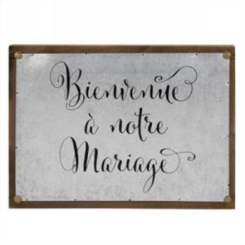 Picture of BIENVENUE A NOTRE MARIAGE PLAQUE POUR LE MUR