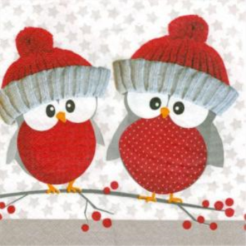 Image de TABLEWARE - RED HOLIDAY OWLS  - LUNCHEON NAPKINS