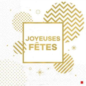 Picture of TABLEWARE - JOYEUSES FÊTE GOLD CIRCLES - LUNCHEON NAPKINS