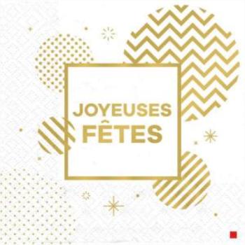 Image de TABLEWARE - JOYEUSES FÊTE GOLD CIRCLES - LUNCHEON NAPKINS