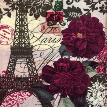 Picture of PARIS EIFFEL TOWER AND FLOWERS - LUNCHEON NAPKINS