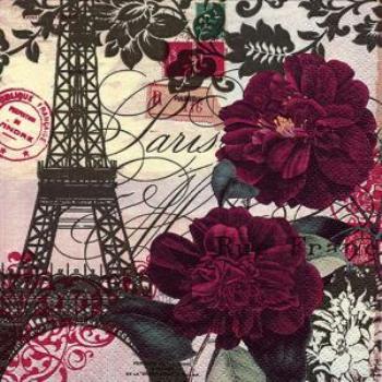 Image de PARIS EIFFEL TOWER AND FLOWERS - LUNCHEON NAPKINS