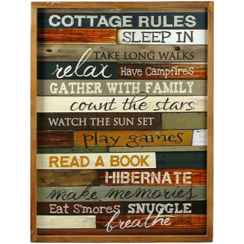 Picture of DECOR - COTTAGE RULES WOODEN PLAQUE