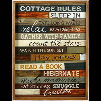 Image de DECOR - COTTAGE RULES WOODEN PLAQUE