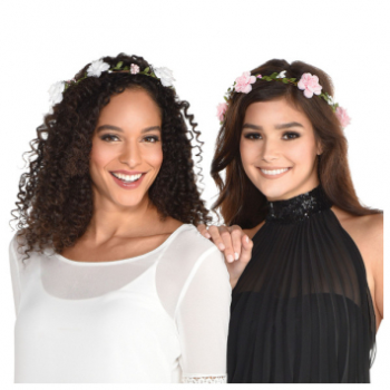 Image de FLORAL HEAD WREATH - PINK AND WHITE