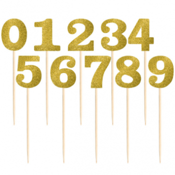 Picture of GOLD GLITTER TABLE NUMBER PICKS - 1-12