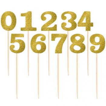 Image de GOLD GLITTER TABLE NUMBER PICKS - 1-12