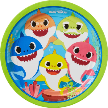 """Picture of BABY SHARK - 9"""" ROUND PLATES"""